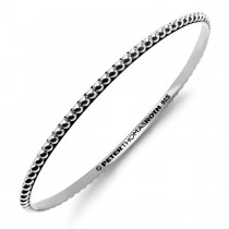 Beaded Stack Oval Bangle in sterling silver