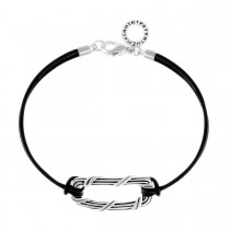 Rectangle Link Bracelet in sterling silver and black leather