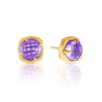 Fantasies Amethyst Stud Earrings in 18K yellow gold 10mm
