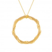 """Heritage Circle Pendant Necklace in 18K yellow gold 1.5"""""""