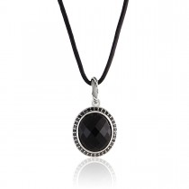 Fantasies Black Onyx Halo Necklace in sterling silver with black spinels and leather