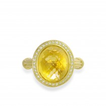Fantasies Citrine Halo Ring in  18K yellow gold with diamonds