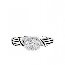Signature Classic Oval Pave Band Ring with white topaz in sterling silver