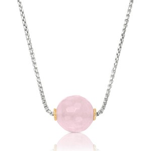 Bead Necklace with rose quartz in two tone sterling silver