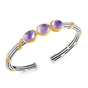 Fantasies Three Oval Gemstone Cuff in two tone sterling silver with amethyst