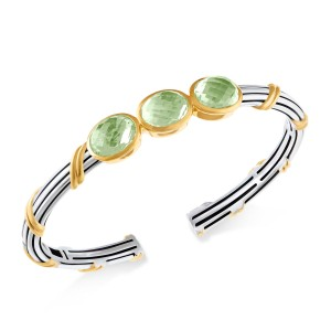 Fantasies Three Oval Gemstone Cuff in two tone sterling silver with prasiolite