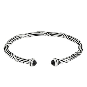 Fantasies Black Onyx Oval Cuff in sterling silver 4 mm