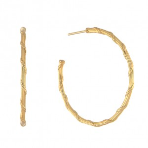 Heritage Hoop Earrings in 18K yellow gold 1.5""