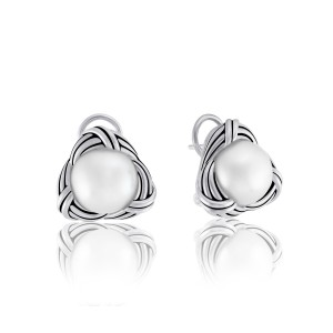 Love Knot Omega Back Earrings in sterling silver with white pearls