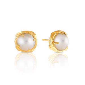 Heritage Mabe Pearl Stud Earrings in 18K yellow gold 10mm