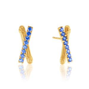 Heritage Criss Cross Earrings with ceylon sapphires in 18K yellow gold