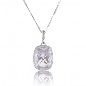 Fantasies Rock Crystal Halo Pendant Necklace in sterling silver with diamonds