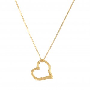 """Heritage Mini Floating Heart Necklace in 18K Yellow Gold 16"""" Chain"""
