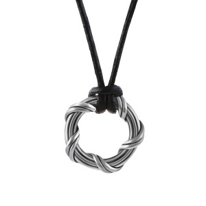 """Explorer Circle Necklace in ruthenium silver and leather 1"""""""