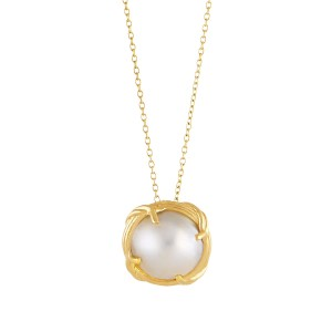 Heritage Mabe Pearl Pendant Necklace in 18K yellow gold 18""