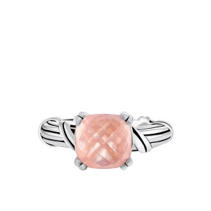 Fantasies Rose Quartz Cocktail Ring in sterling silver 10mm