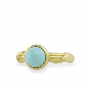 Turquoise Bezel Set Cabochon Ring in 18K yellow gold