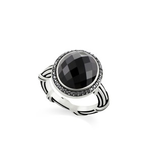 Fantasies Black Onyx Halo Ring in sterling silver with black spinel