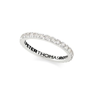 Eternity Band Ring with white topaz in sterling silver