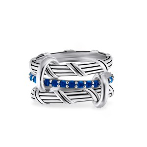Signature Classic Connected Ring with blue sapphires in sterling silver