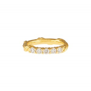 Heritage Five Stone Band Ring with diamonds in 18K yellow gold